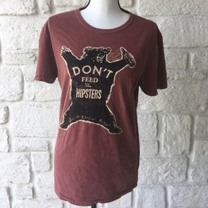 Lucky Brand Don't Feed The Hipsters Tee Shirt